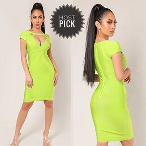 💚 Green Bandage Cut Out Dress